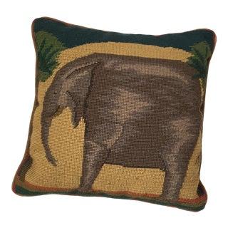 Needlepoint Elephant Accent Pillow
