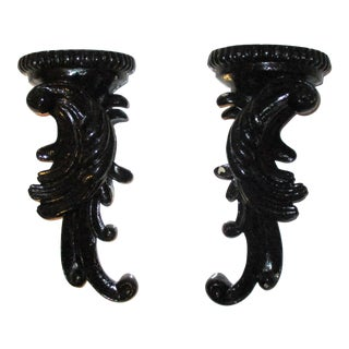 Ornate Black Lacquer Distressed French Rococo Gothic Sconces Sculptures Bookends - A Pair