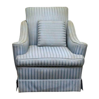 Blue Striped Fabric Arm Chair
