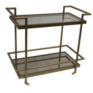 Brass Glass & Mirror Bar Cart
