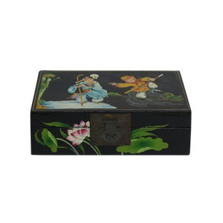 Black Lacquer Box With Chinese Tail Monkey Deity Play Graphic