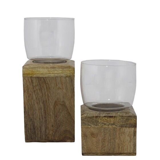 Image of Rustic Wood & Glass Hurricanes - A Pair