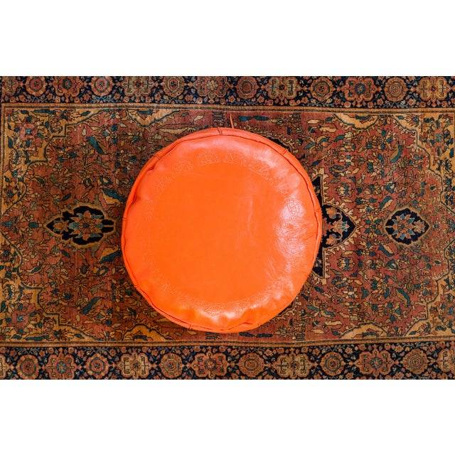 Antique Leather Moroccan Pouf - Orange - Image 3 of 8