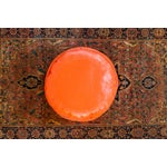 Image of Antique Leather Moroccan Pouf - Orange