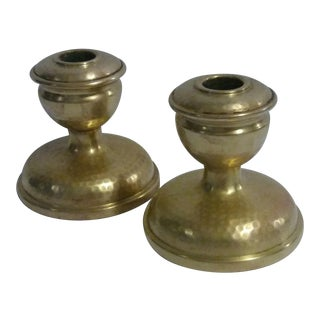 Antique Brass Arts & Crafts Candle Holders - A Pair