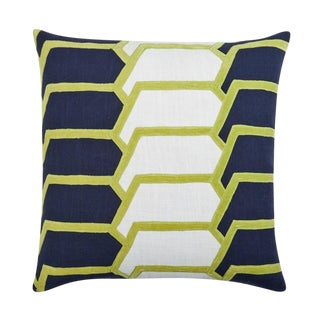"Piper Collection Navy & Citrus ""Charley"" Pillow"