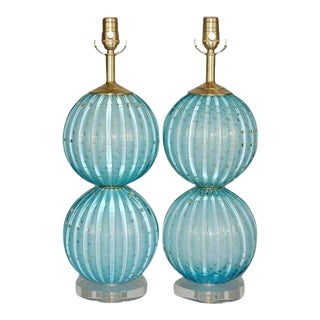 Blue Stacked Ball Murano Lamps