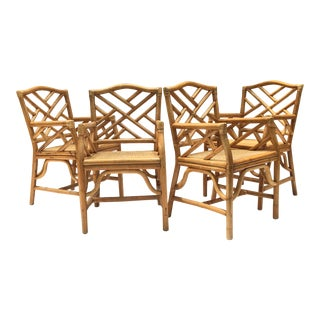 Chinese Chippendale McGuire Style Rattan Bamboo Arm Dining Chairs - Set of 4