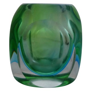 Vintage Murano Glass Sommerso Vase by Flavio Poli