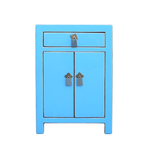 Oriental Pastel Blue Silver Hardware End Table - Image 1 of 4