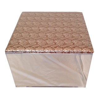 Contemporary Upholstered Lucite Ottoman