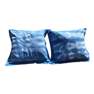 Blue & White Hand Dyed Indigo Shibori Euro Pillow Shams- Set of 2