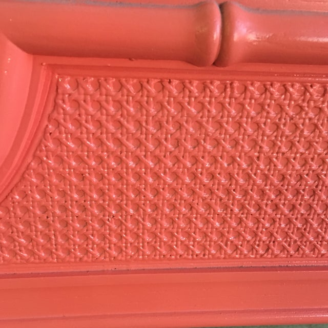 Vintage Coral Faux Bamboo Pagoda Style Mirror - Image 4 of 10