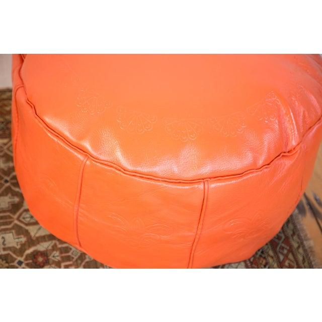 Antique Leather Moroccan Pouf - Orange - Image 7 of 8