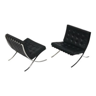 Exceptional Pair of Barcelona Chairs by Mies Van Der Rohe for Knoll