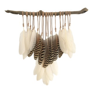 Boho Cream & Exotic Feathers on Driftwood