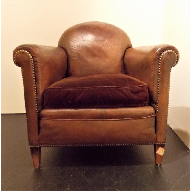 French Vintage Leather Club Chair - Image 2 of 7