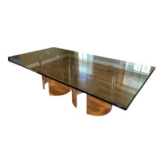 Vintage 1960's Beveled Glass Dining Table