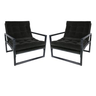 Pair of Ebonized Cerused Oak Scoop Chairs by Milo Baughman