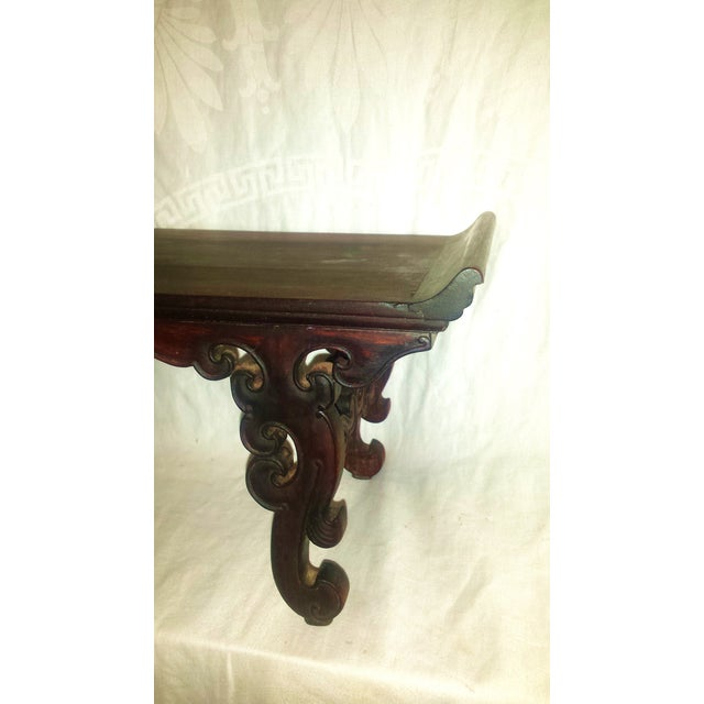 Small Antique Chinese Lacquered Wooden Altar Bench - Image 6 of 11