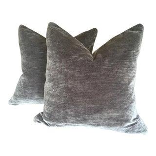 Lee Jofa Dark Gray Striè Velvet Pillows - A Pair