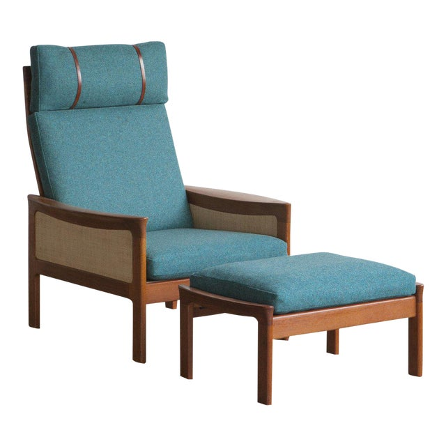 Danish High Back Lounge Chair & Ottoman - Image 1 of 10