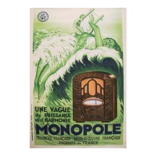1934 French Art Deco Poster, Radio Monopole