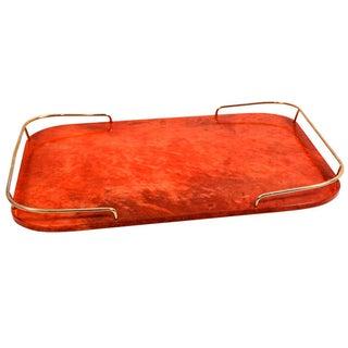 Barware Aldo Tura Service Tray Red Parchment Bras