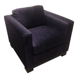 Dark Navy Mohair Club Chair