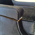 Image of Mid-Century Blue Velvet Club Chairs - A Pair