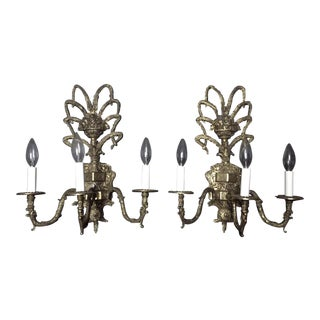Antique Brass Three Armed Electric Sconce Lamps - A Pair