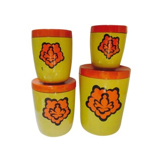 Orange Yellow Mod Canister Set - Set of 8