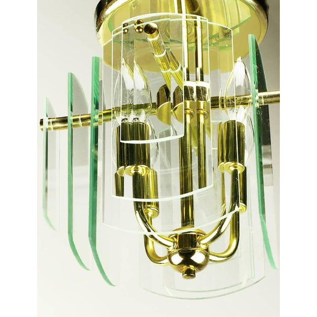 Image of Pair Brass and Beveled Graduated Glass Ceiling Lights
