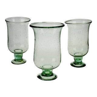 Vintage Hand Blown Art Glass Candle Holders - Set of 3