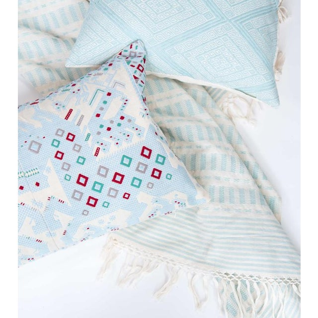 Serenity Blue Handwoven Mexican Throw - Image 4 of 7