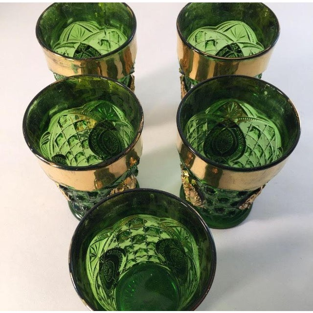Green And Gold Rimmed Cocktail Glasses - Set of 5 - Image 3 of 4