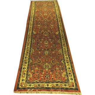 "Vintage Traditional Persian Sarouk Runner Rug- 3' X 10'5"""