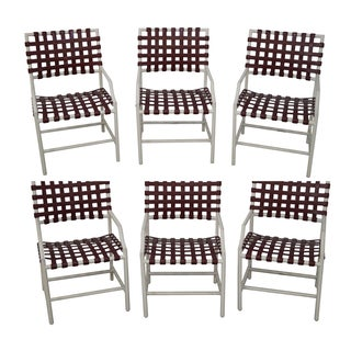Tropitone Vinyl Strap Patio Chairs - Set of 6