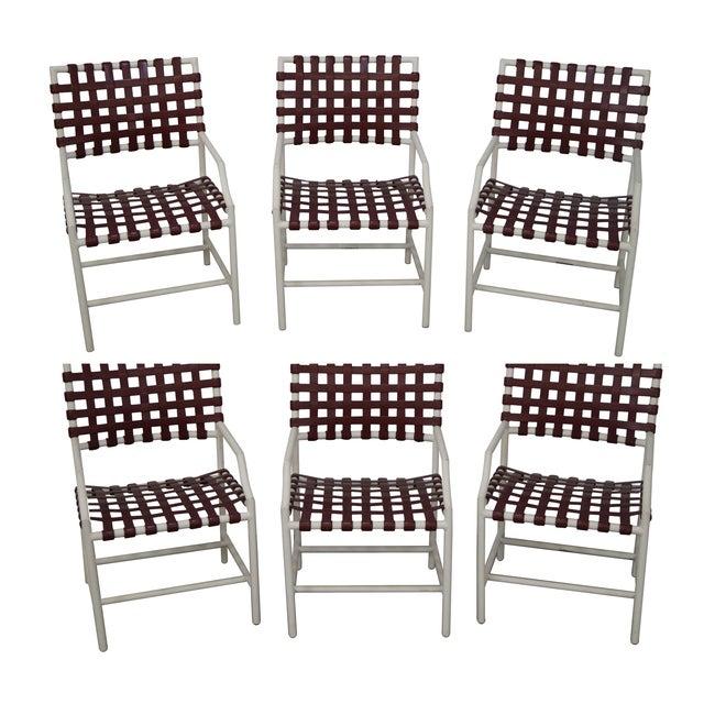 Tropitone Vinyl Strap Patio Chairs Set Of 6 Chairish
