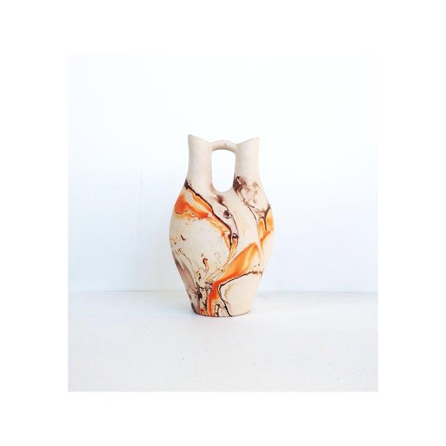 Vintage Nemadji Pottery Orange & Brown Vase - Image 2 of 6