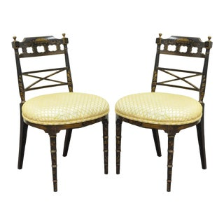 Antique Chinoiserie Oriental Japanned Black Painted Pagoda Side Chairs - a Pair