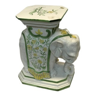 Glazed Elephant Garden Seat/ Side Table