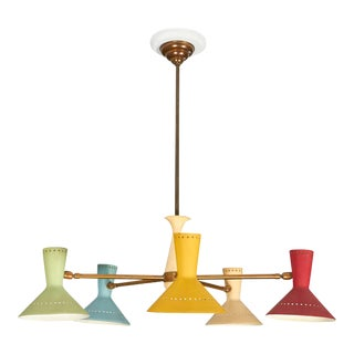 Italian Chandelier with Lacquered Conical Shades