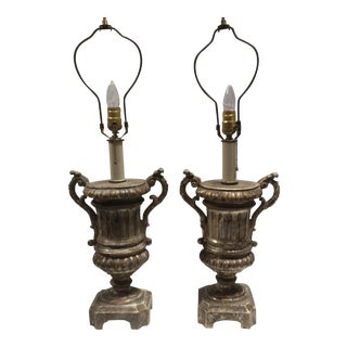 Italian Silvered Wood Urn Lamps - A Pair