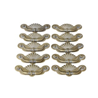 Brass Bail Handles with Shell Motif, Set of 10