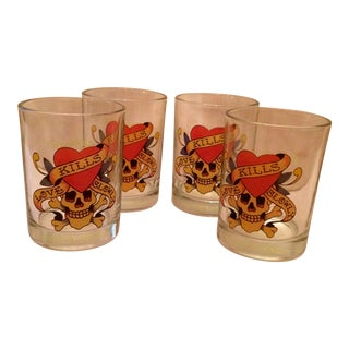 "Ed Hardy ""Love Kills Slowly"" Low Ball Glasses - Set of 4"