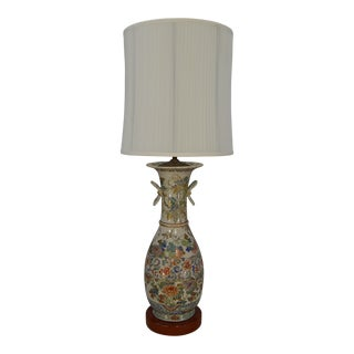 Monumental 19th C. Hand-Painted Chinese Pottery Vase Lamp