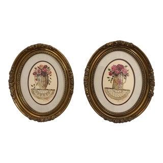Framed Oval Floral Prints - A Pair