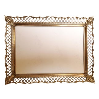 Antique Gold Brass Filigree Picture Frame
