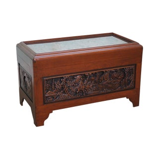 Chinese Export Scenic Carved Camphor Wood Lidded Trunk Chest
